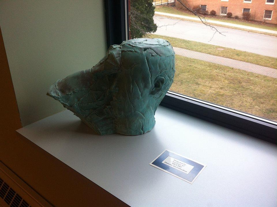 Blue head sculpture