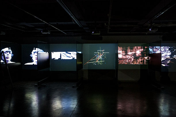 Ten individual video projection display gallery