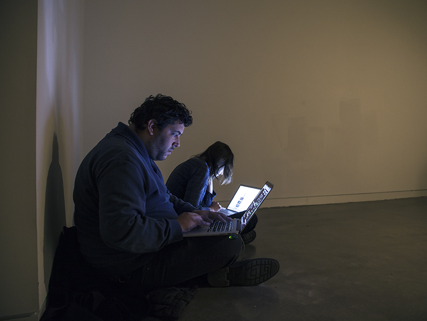 Omer and Tal preparing code for the piece