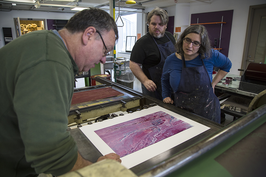 Joseph, Debora, and Jason Evaluating Second Color of Print
