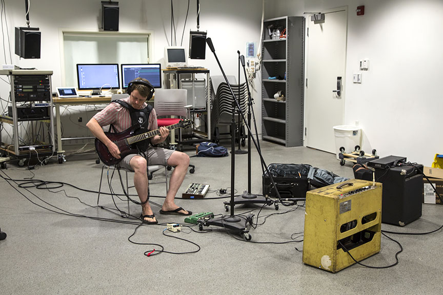 Kyle recording with a wearable that would vibrate based on frequency imput