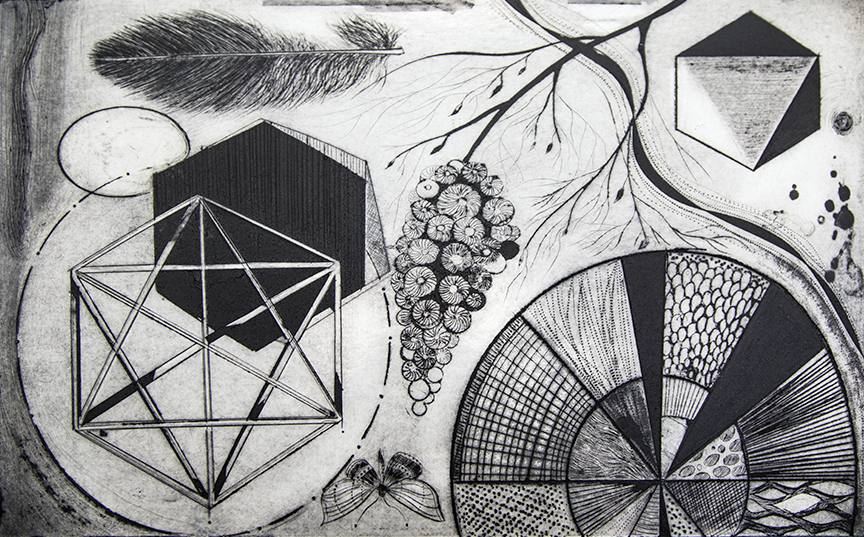 Completed non-toxic, inexpensive dry-point intaglio print