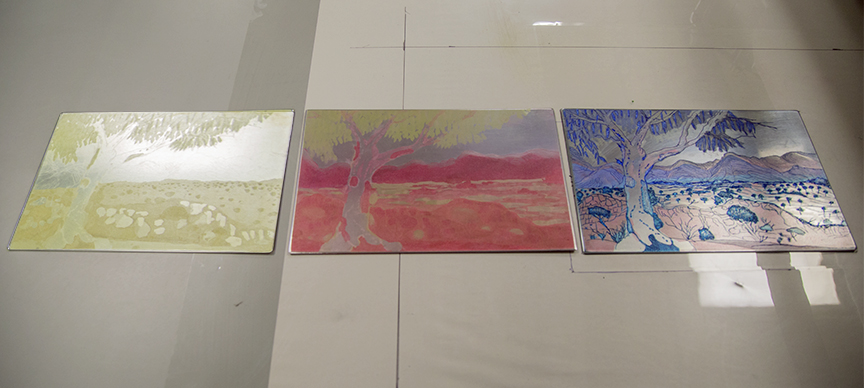 Plates for three color process
