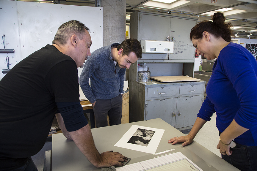 (left to right) Michael Kempson, NYSCC professor of Printmaking Myles Calvert, and Nicky Crayson with photo polymer print by Nicky