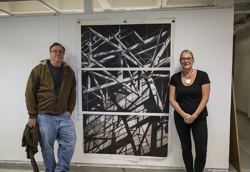 Joe and Jenny with a nearly complete multi-plate polymer plate print