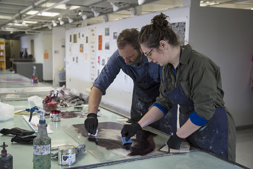 Lee and Elisabeth inking plate for intaglio printing