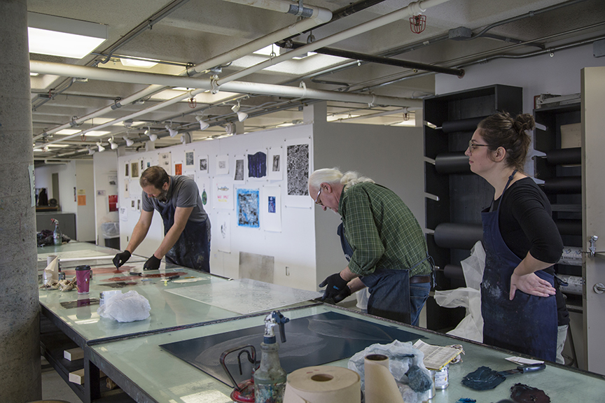 (L to R) Lee, Scott, and Elisabeth prepping plates for printing