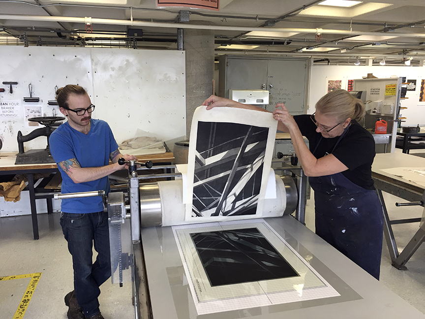 Tim working with Jenny on polymer plate prints