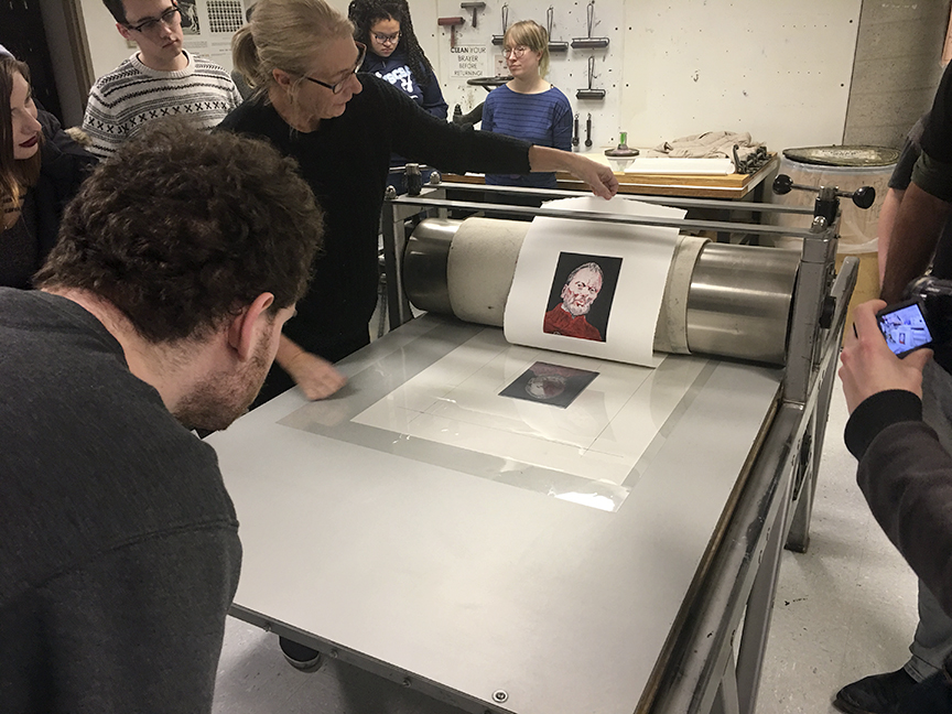 Process for multiple plate printing. Along with a good registration sheet, the secret is to keep the paper firmly clamped under the rollers until all colors have been printed.