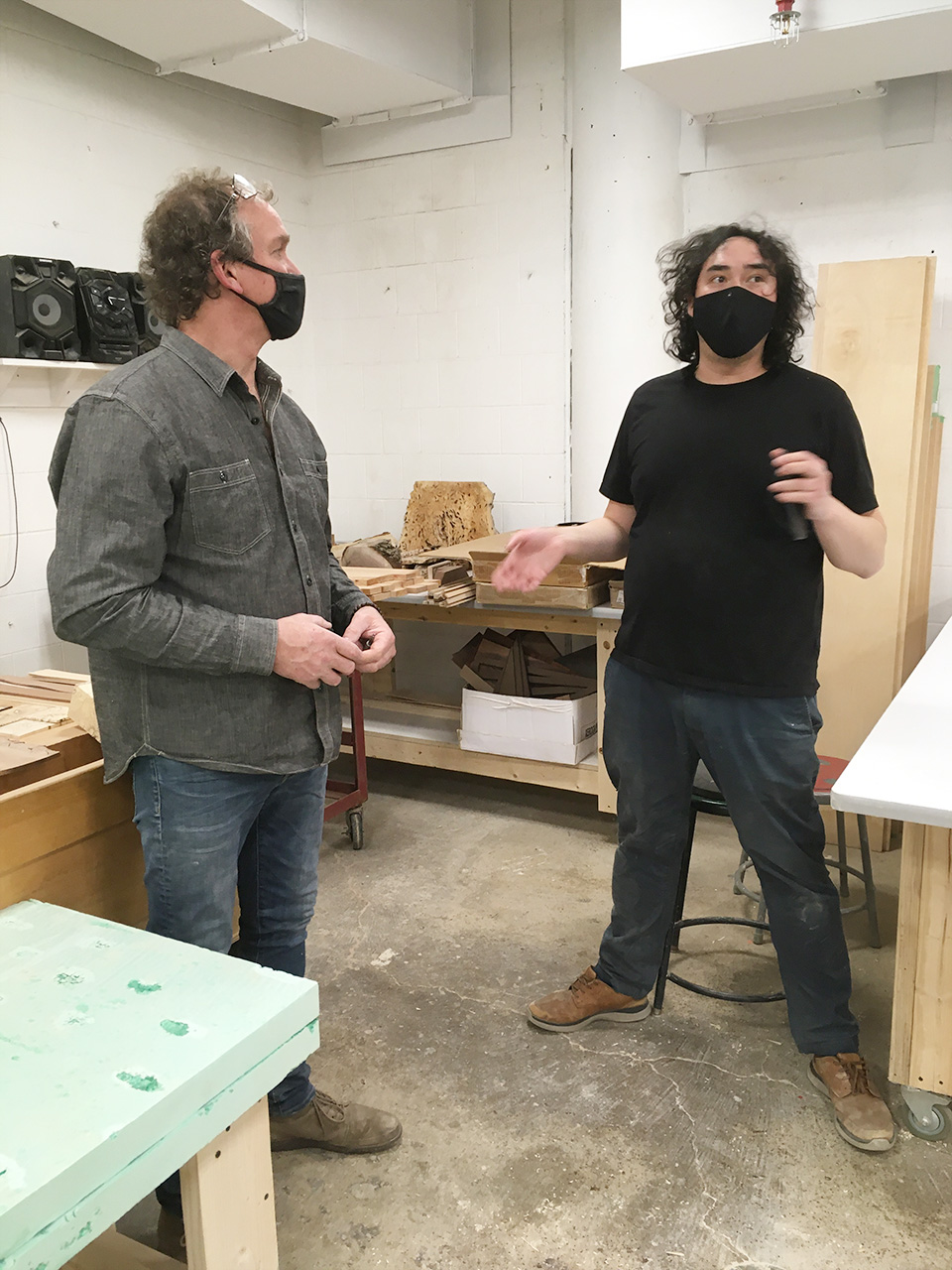Simon Liu and Wood Shop technician Tim McKee