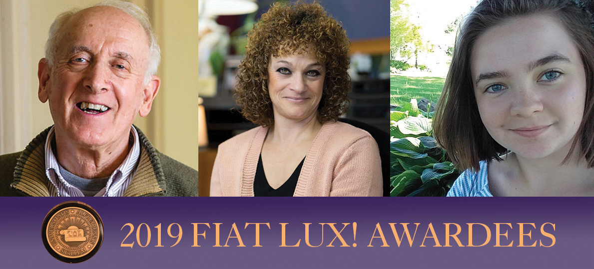 Fiat Lux Award Winners Gary Ostrower, Nadine Shardlow and Abigail Smith