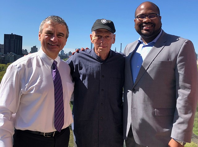 From left, Mark Zupan, Richard Block '62 and trustee Matthew Washington '04