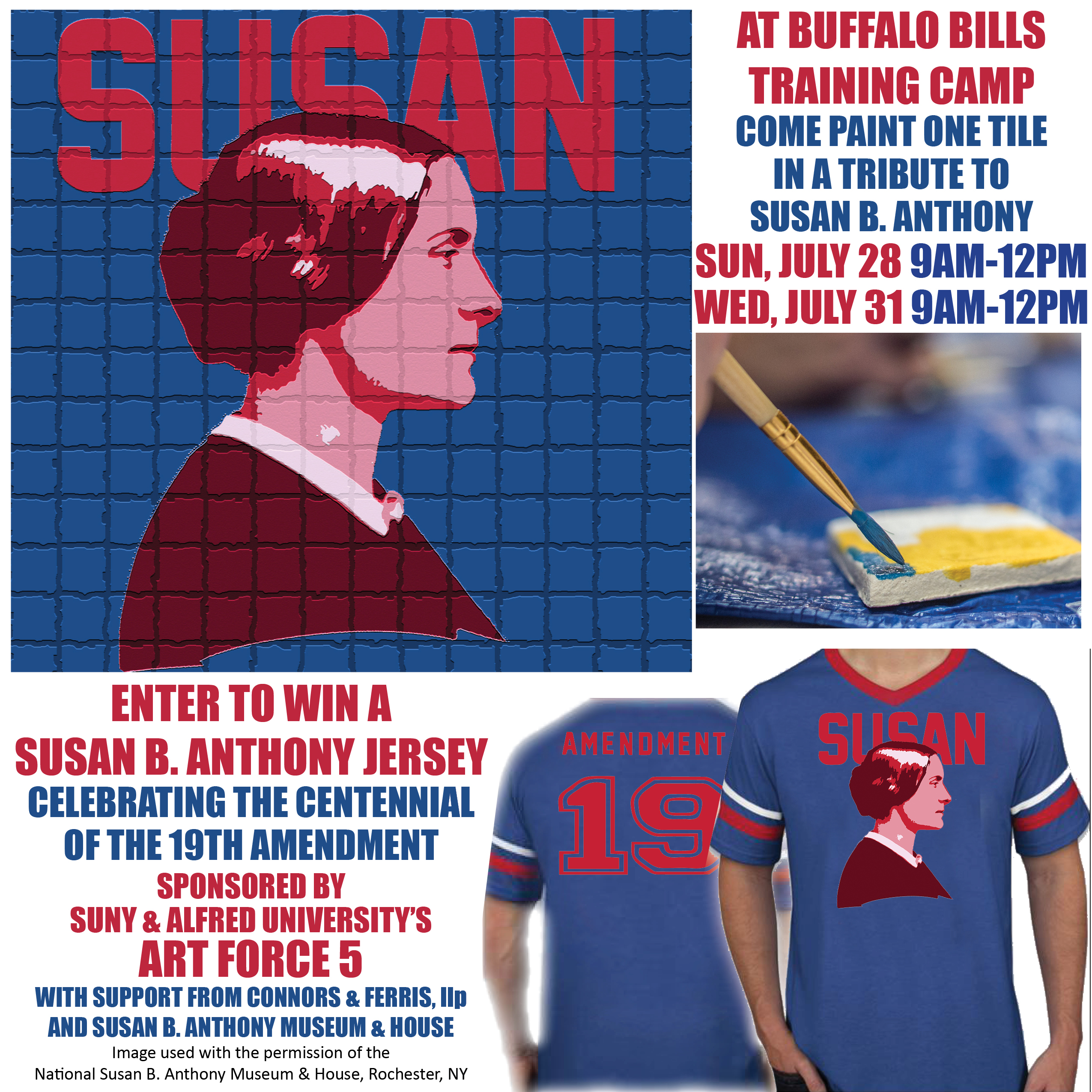 Susan B Anthony mosaic project at the Bills Training Camp with Art Force 5