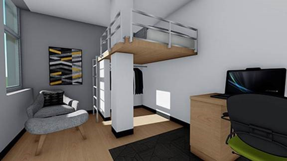 Rendering of a single room in the renovated Openhym Residence Hall