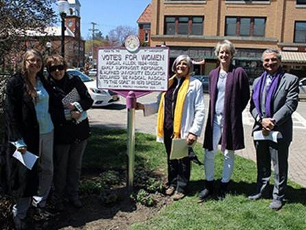 From left: Alfred University provost Beth Ann Dobie, professor of Sociology  Karen Porter, professor of Theater Becky Prophet '70, archivist Laurie  Lounsberry Meehan '91, and Mark Zupan celebrate the unveiling of a plaque honoring the life and contributions of Abigail Allen.